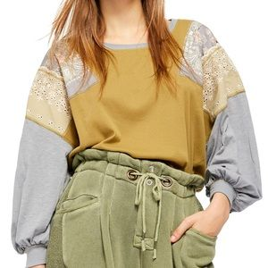 WE THE FREE FEELIN IT GREEN PATCHWORK BLOUSE